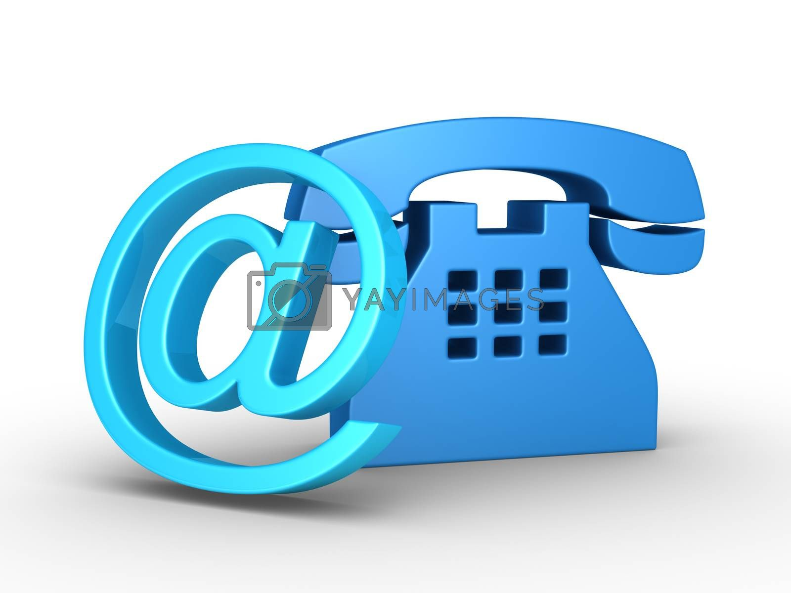 Telephone symbol and an e-mail symbol leaning on it