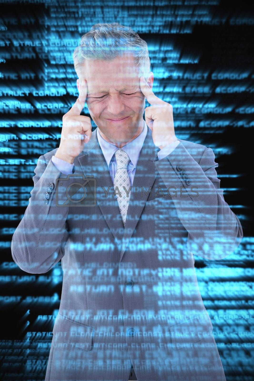 Businessman with headache against shiny blue coding on black background