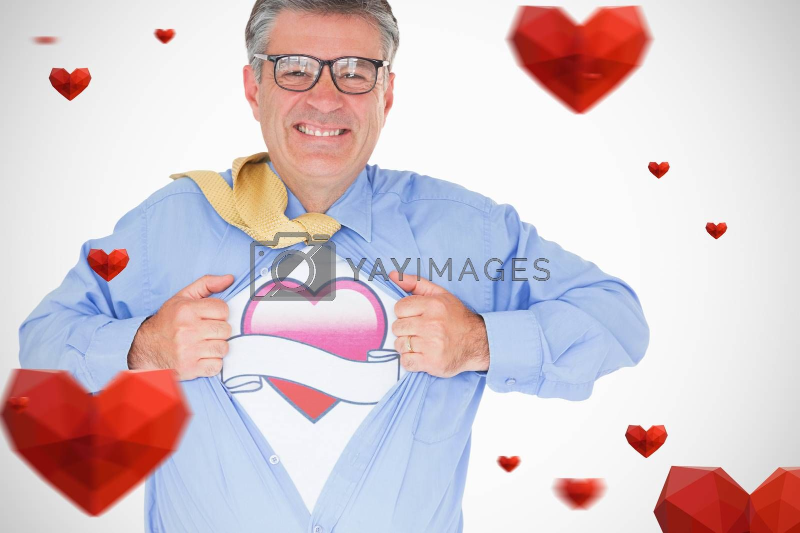 heart with scroll against man with glasses is pulling his shirt with his hands