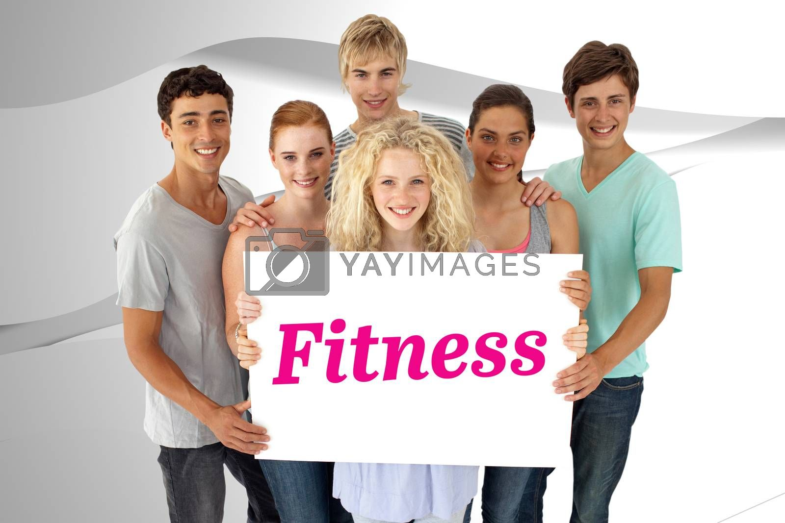 The word fitness and group of teenagers holding a blank card against white wave design