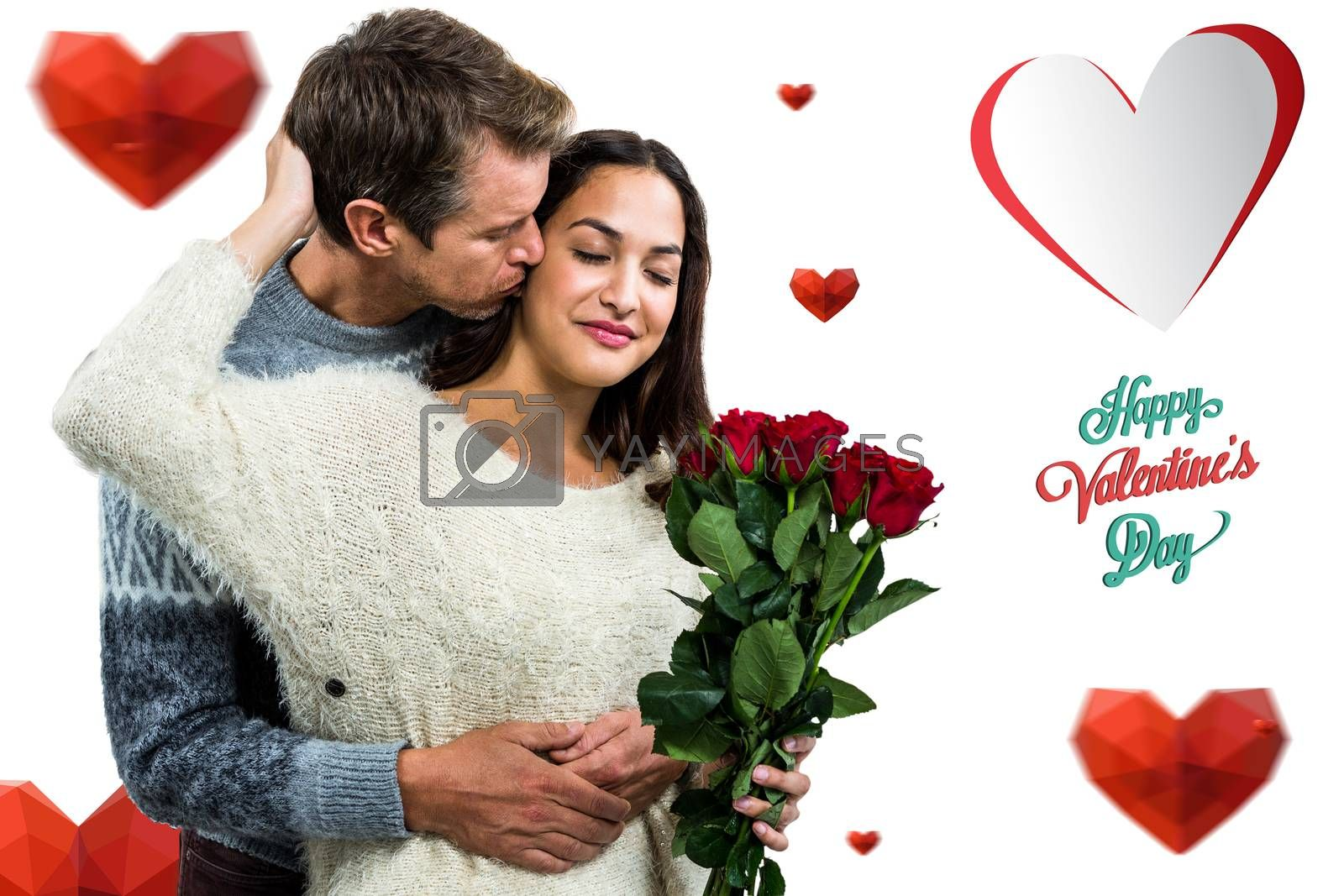 Man embracing and kissing girlfriend against happy valentines day