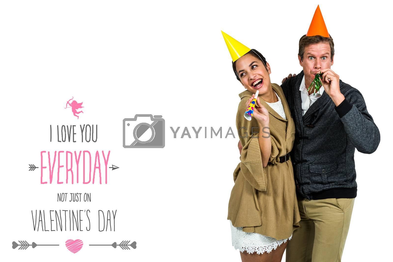 Composite image of cheerful couple celebrating birthday by Wavebreakmedia