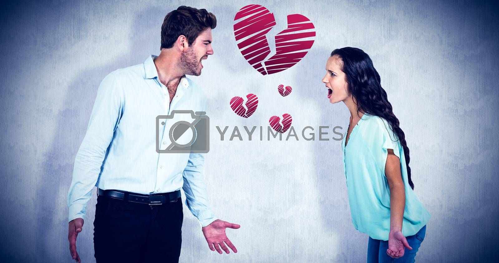 Composite image of screaming couple having argument by Wavebreakmedia