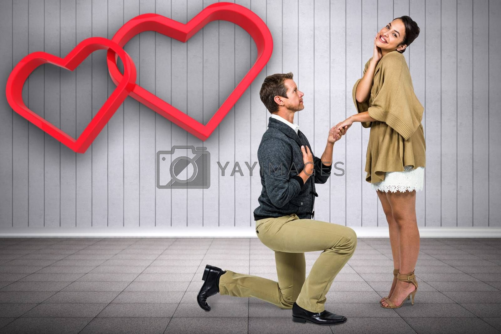 Composite image of man proposing woman while kneeling by Wavebreakmedia