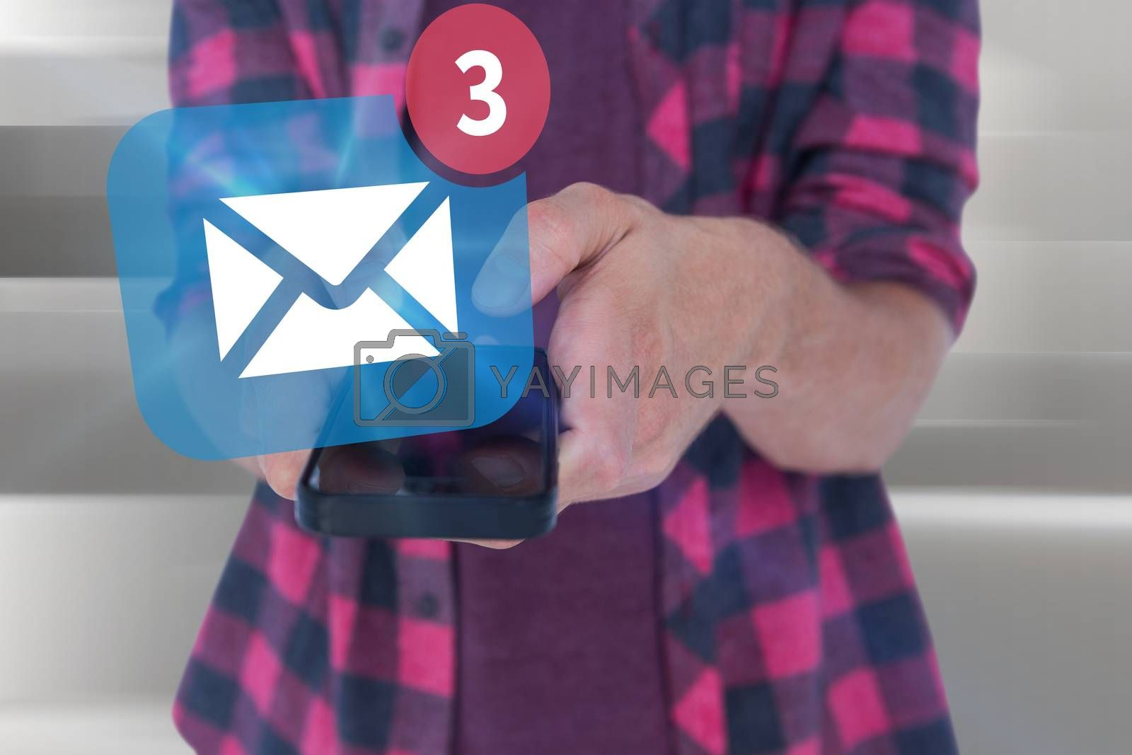 Midsection of man in casuals using smart phone against abstract white design