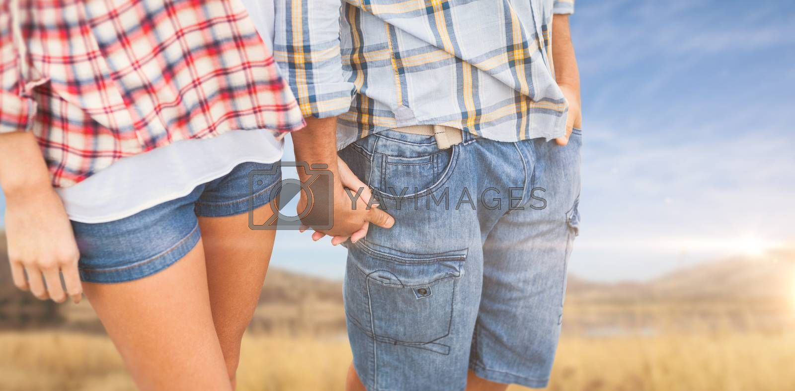 Couple in check shirts and denim holding hands against wheat field