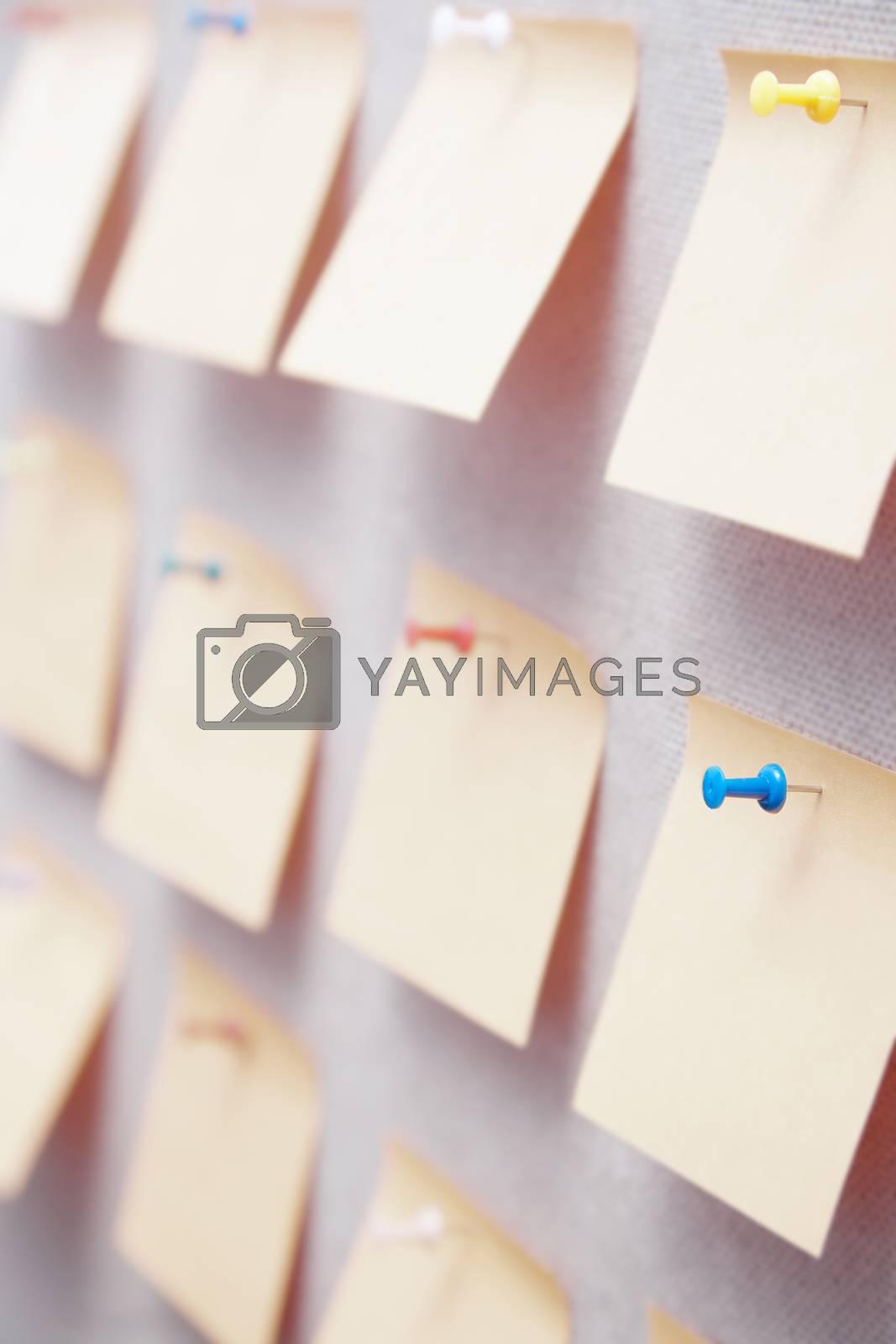 Sticky notes on a bulletin board by Novic