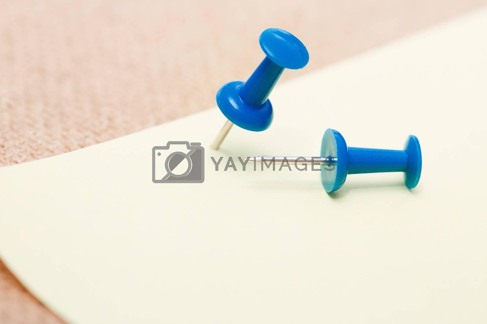 Adhesive note and blue pushpins. Close-up view