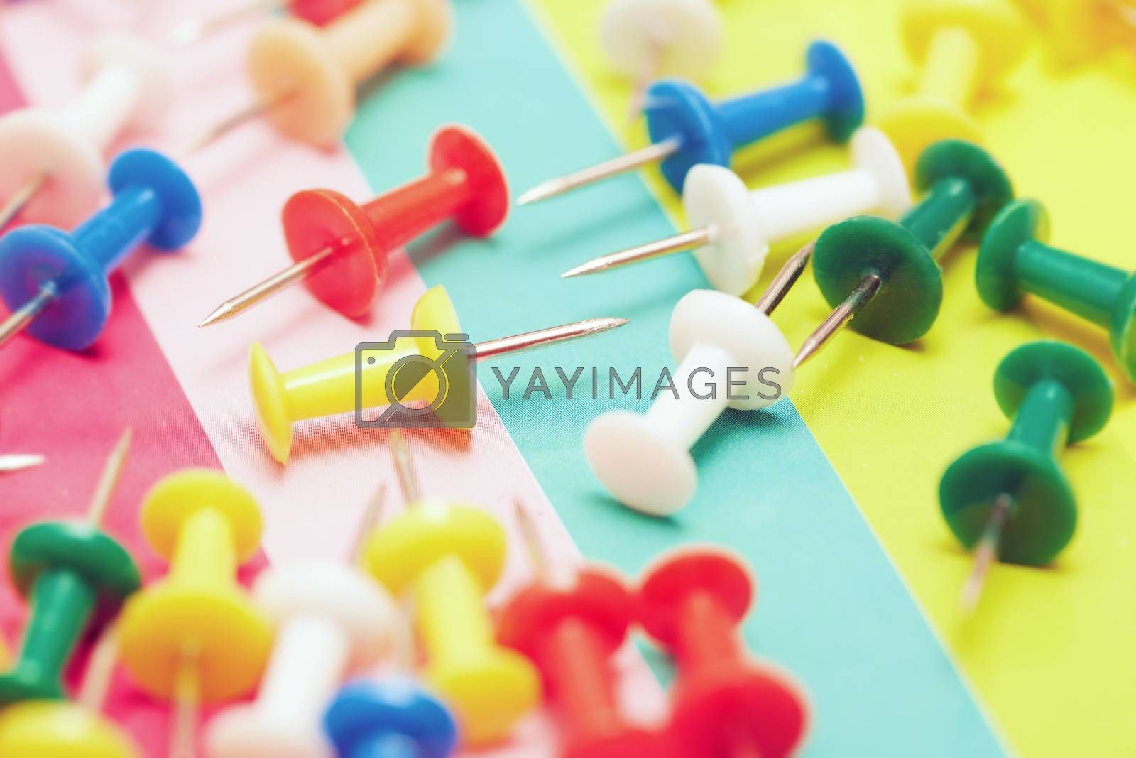 Close-up view on a multicolored set of pushpins