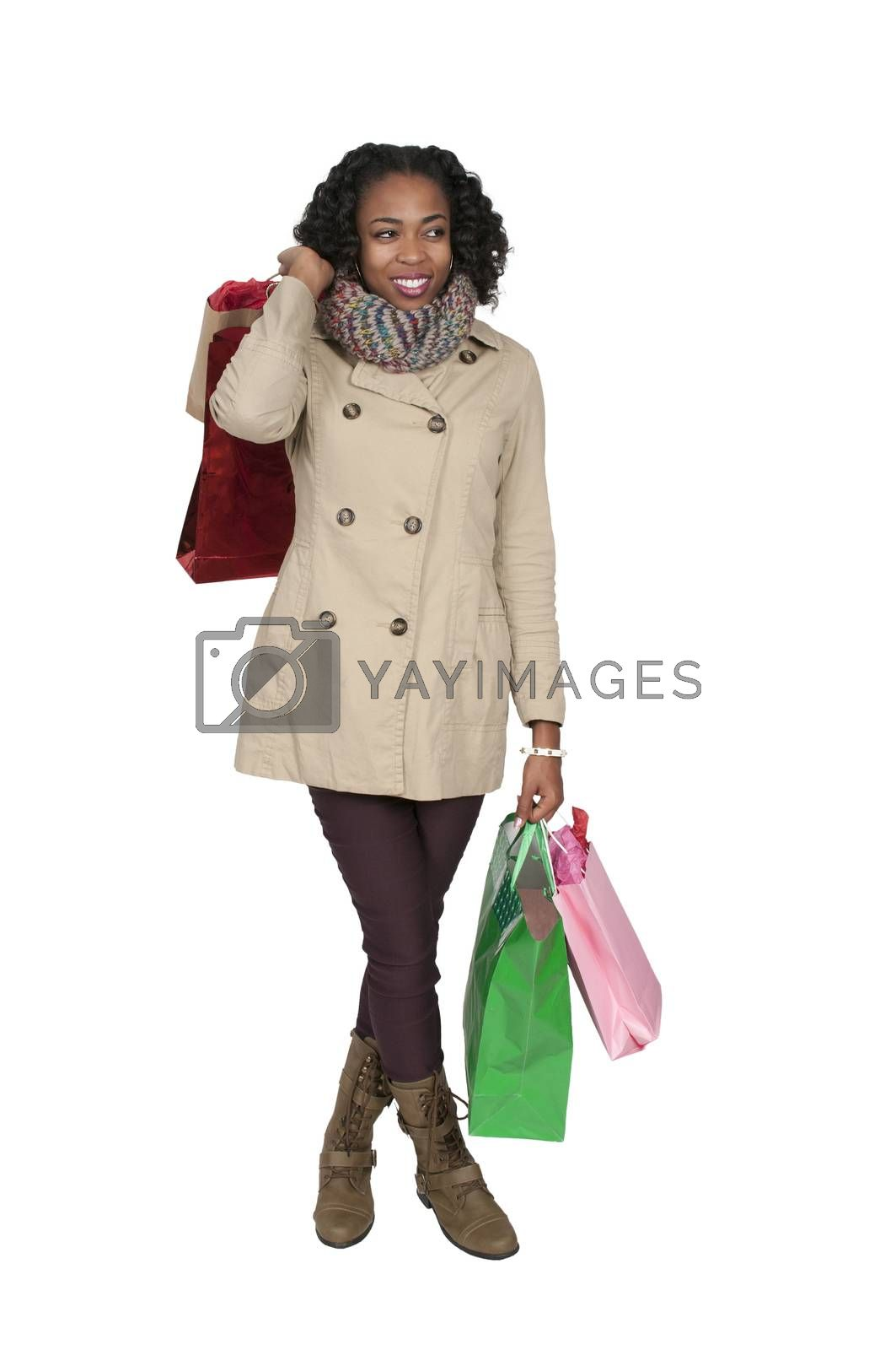 Beautiful young black woman on a shopping spree