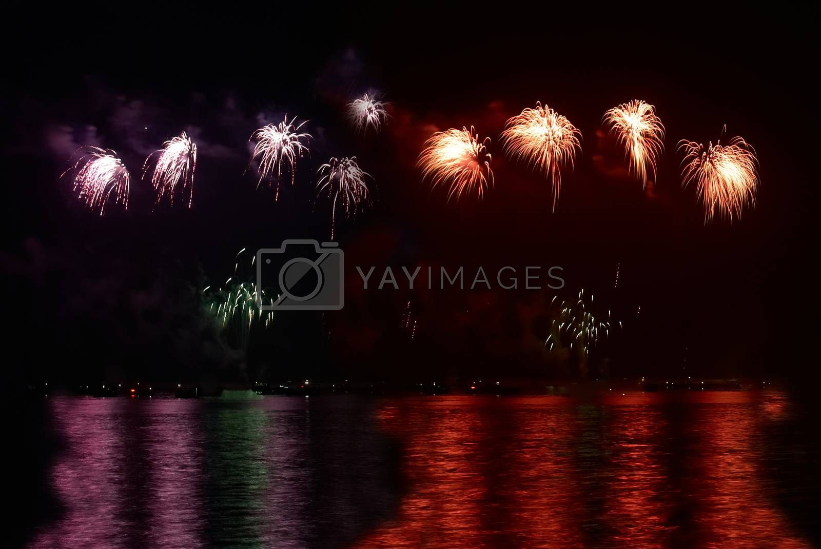Colorful holiday fireworks by vapi