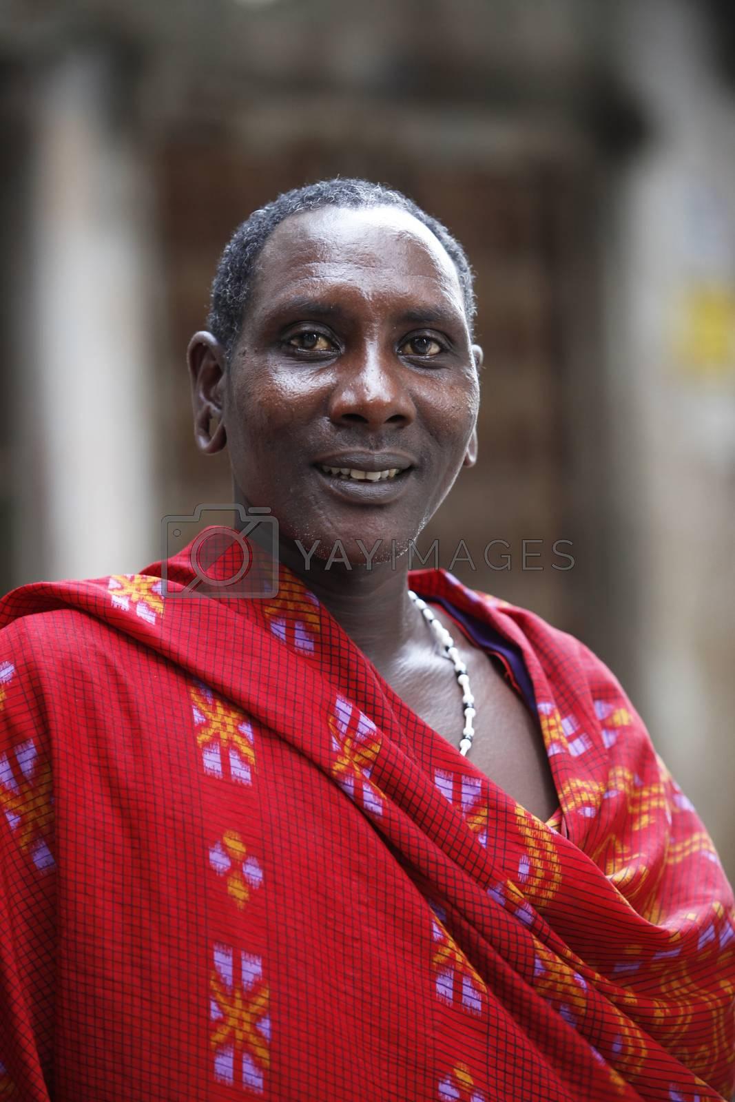 Stoun Town, Zanzibar - January 10, 2016: The Maasai are a Nilotic ethnic group of semi-nomadic people inhabiting southern Kenya and northern Tanzania.