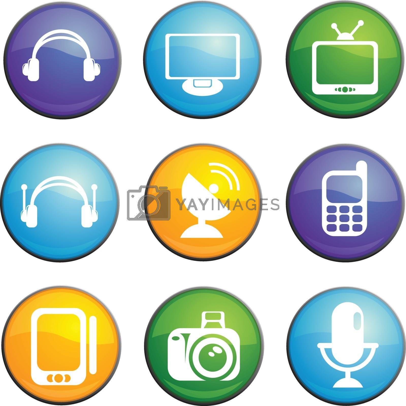 Communication round glossy icons for web site and user interfaces