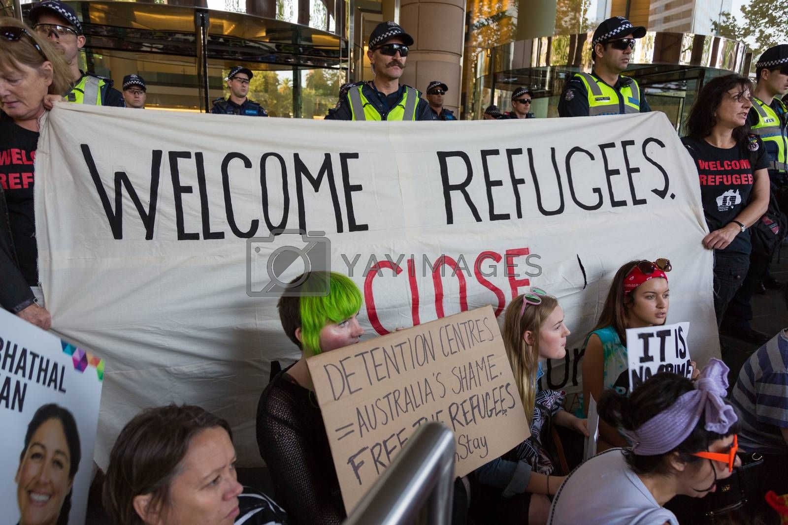 MELBOURNEAUSTRALIA - FEBRUARY 4: Refugee activists along with the Socialist Alliance and University Students, protest in Melbourne against sending children back from onshore camps to Nauru offshore centres.