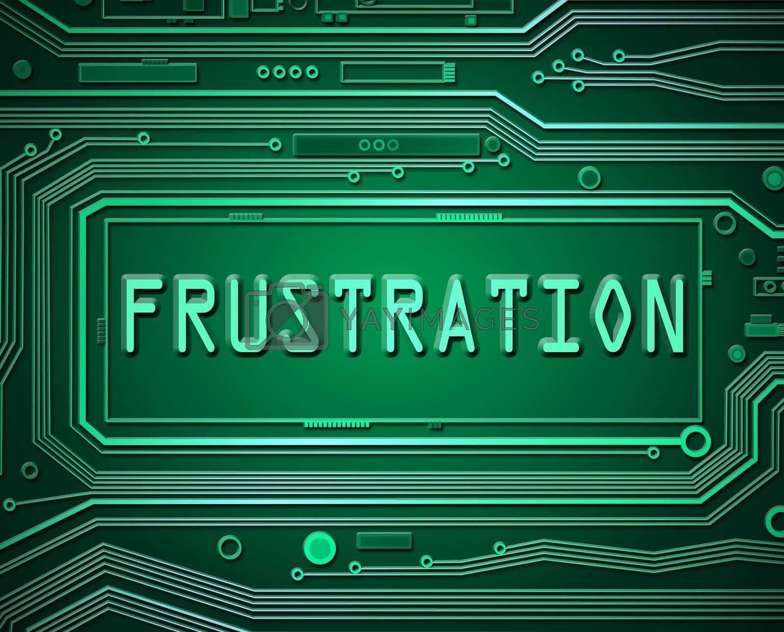 Abstract style illustration depicting printed circuit board components with a frustration.