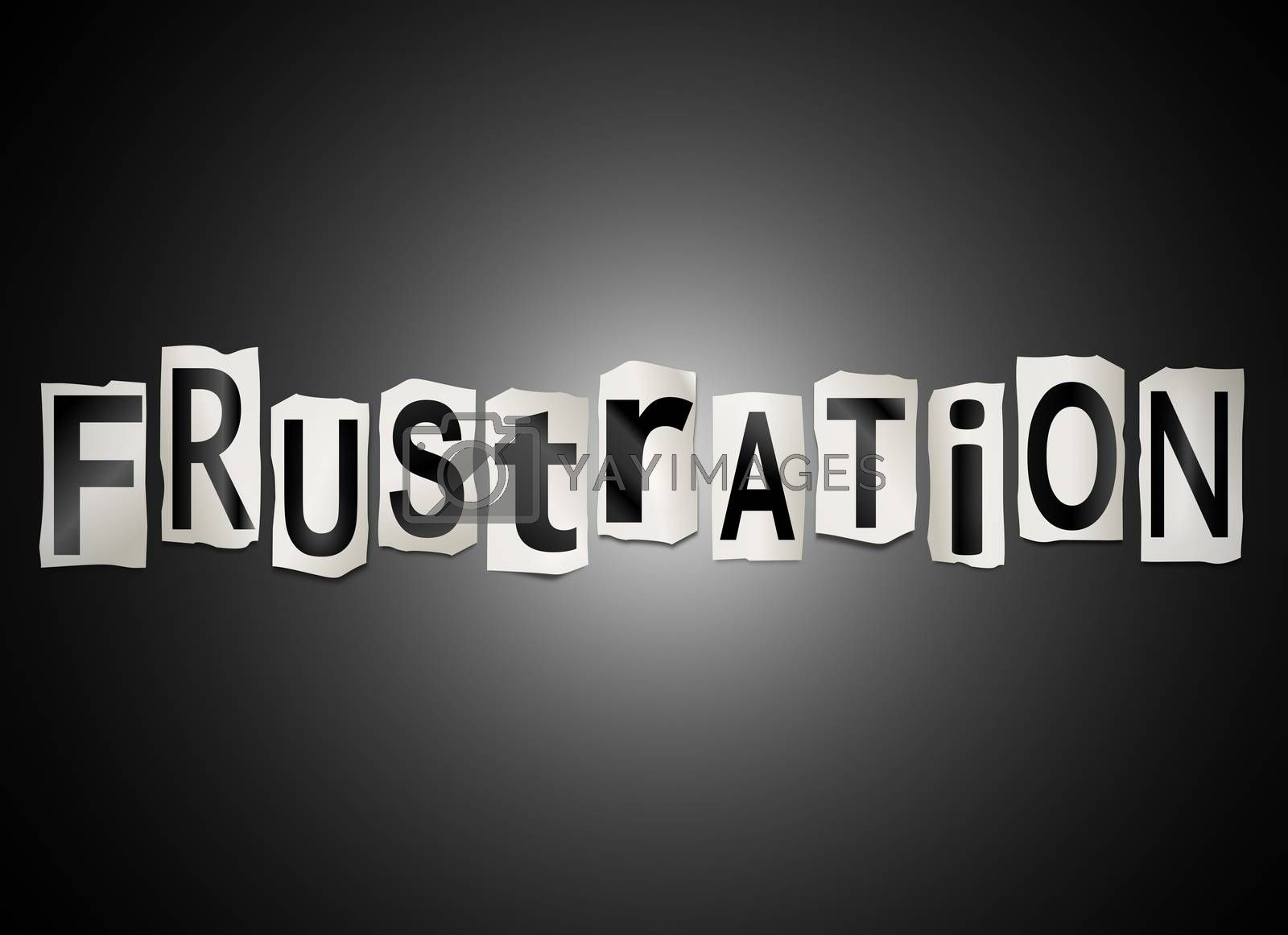 Illustration depicting a set of cut out printed letters arranged to form the word frustration.