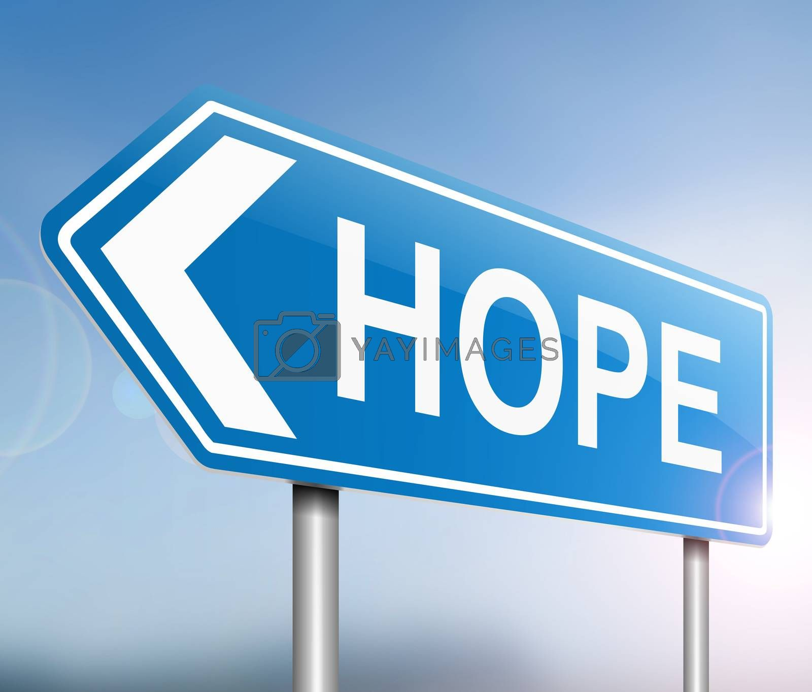 Illustration depicting a sign with a hope concept.