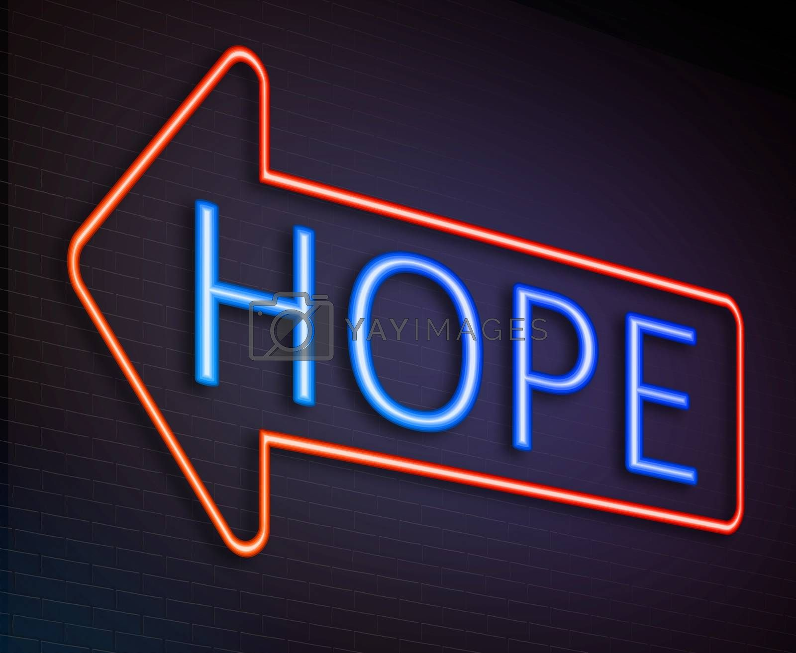 Illustration depicting an illuminated neon sign with a hope concept.