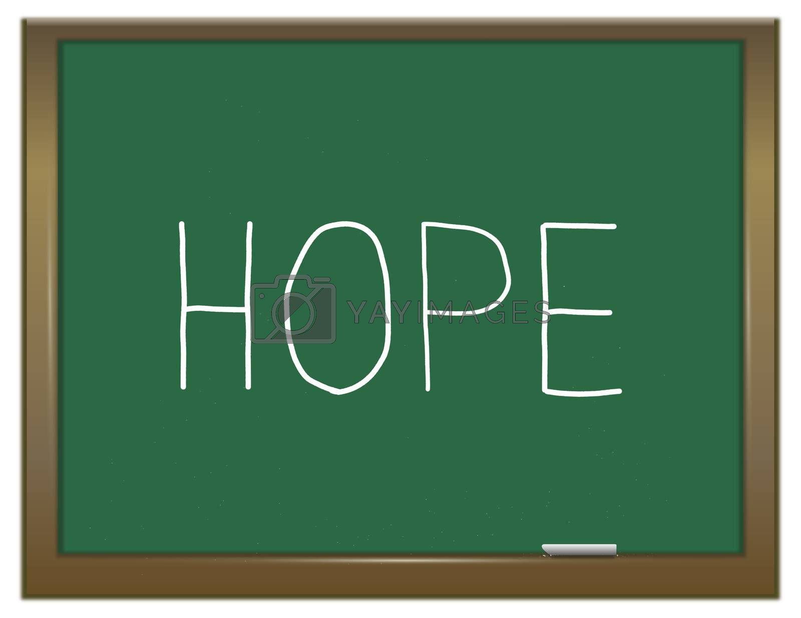 Illustration depicting a green chalkboard with a hope concept.