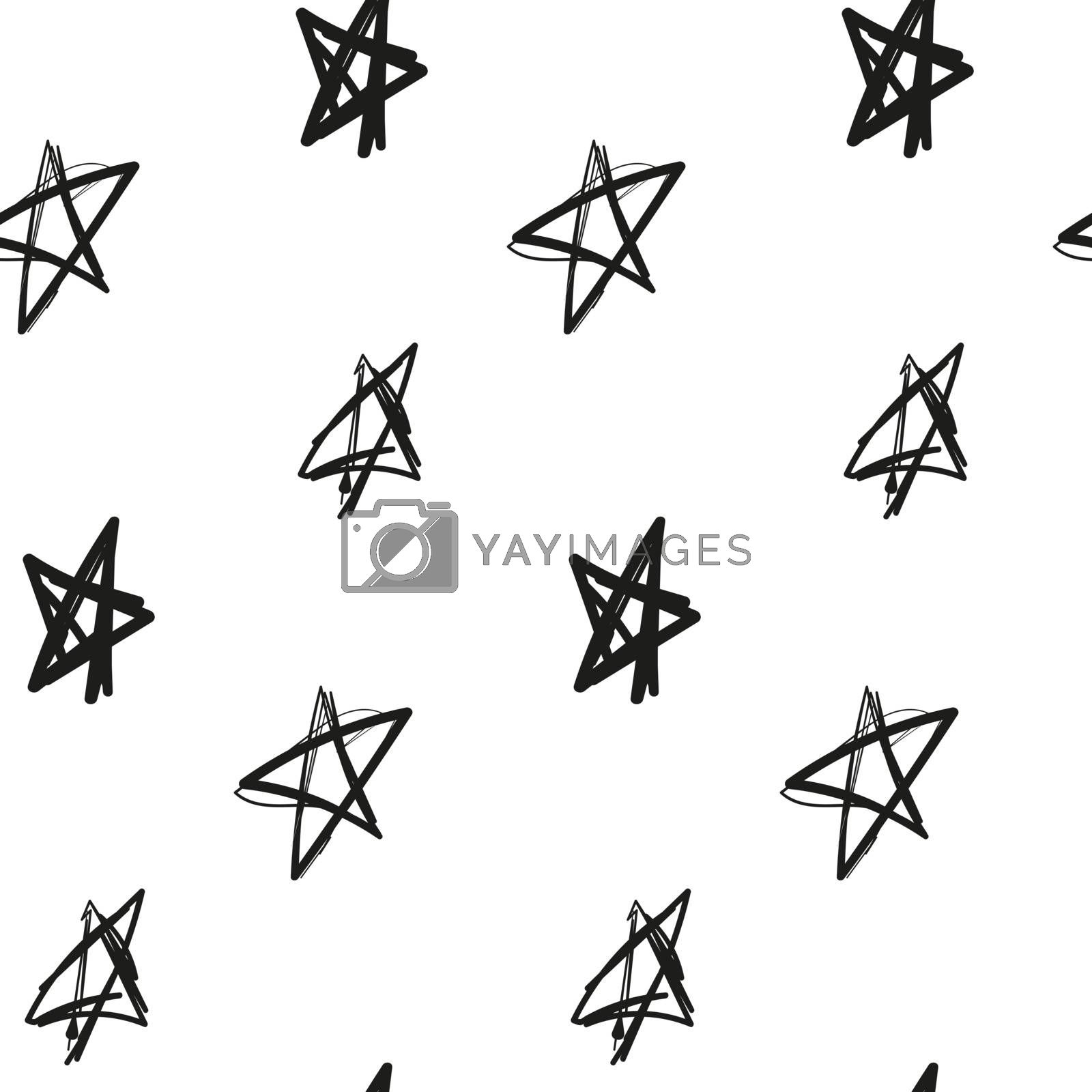 Stars imitation of ink hand drawn on a white background seamless pattern