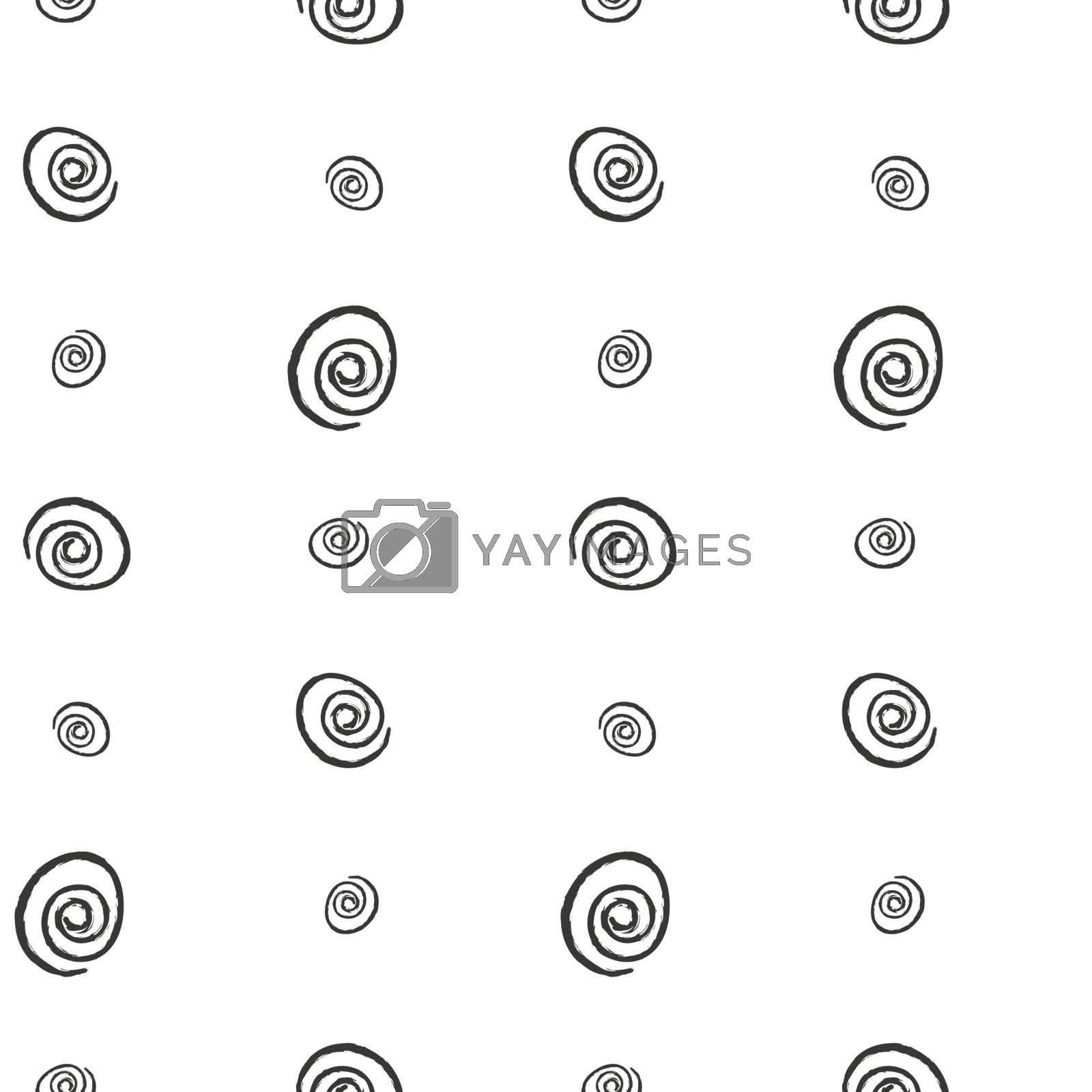 Spiral imitation ink hand drawn on a white background seamless pattern