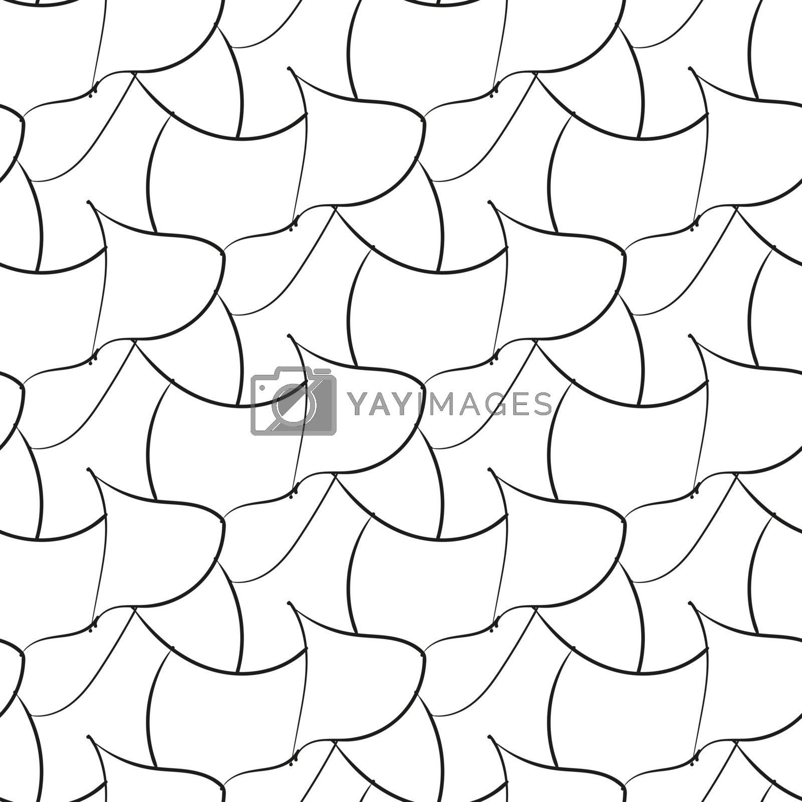 Black abstraction petals hand drawn seamless pattern