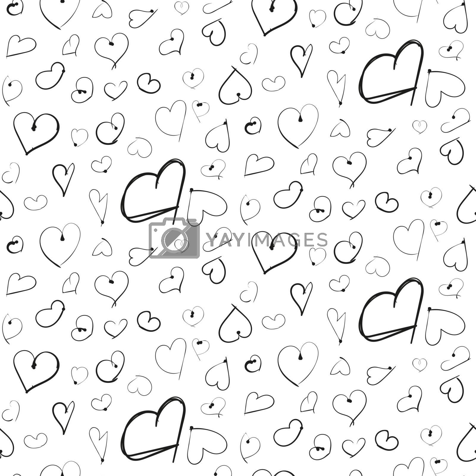 Heart ink imitation black hand drawn seamless pattern