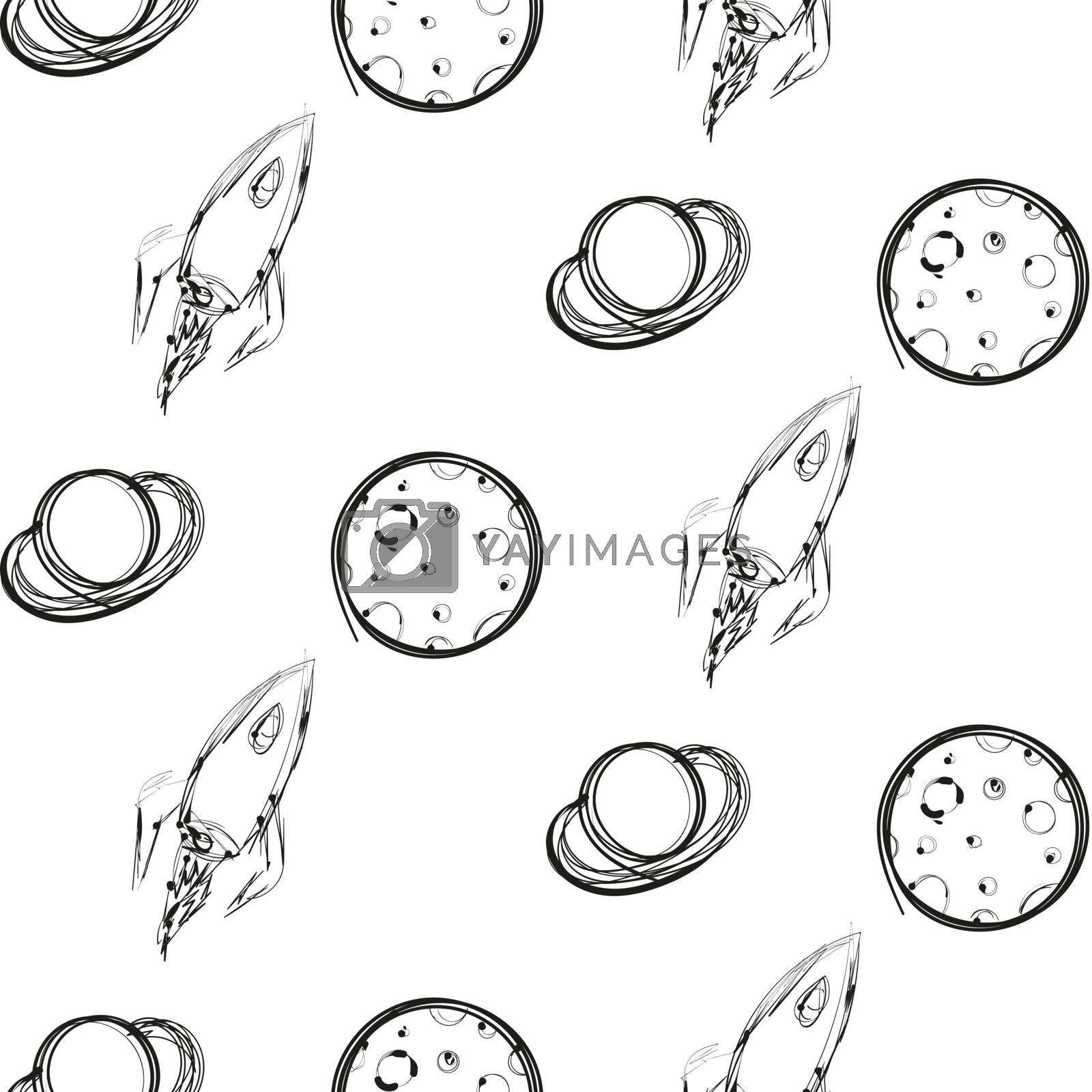 Planet and rocket ink imitation seamless pattern by tommarkov