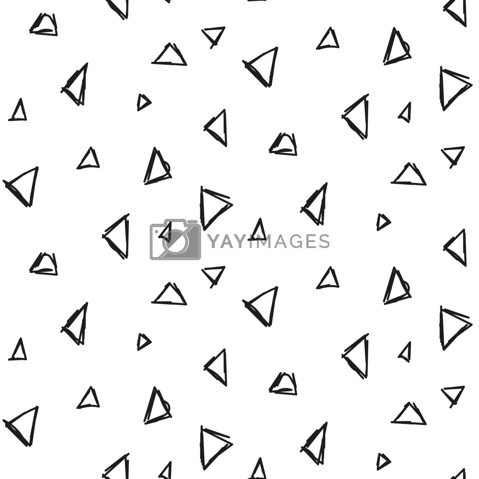 Abstract triangle hand drawn ink imitation seamless pattern