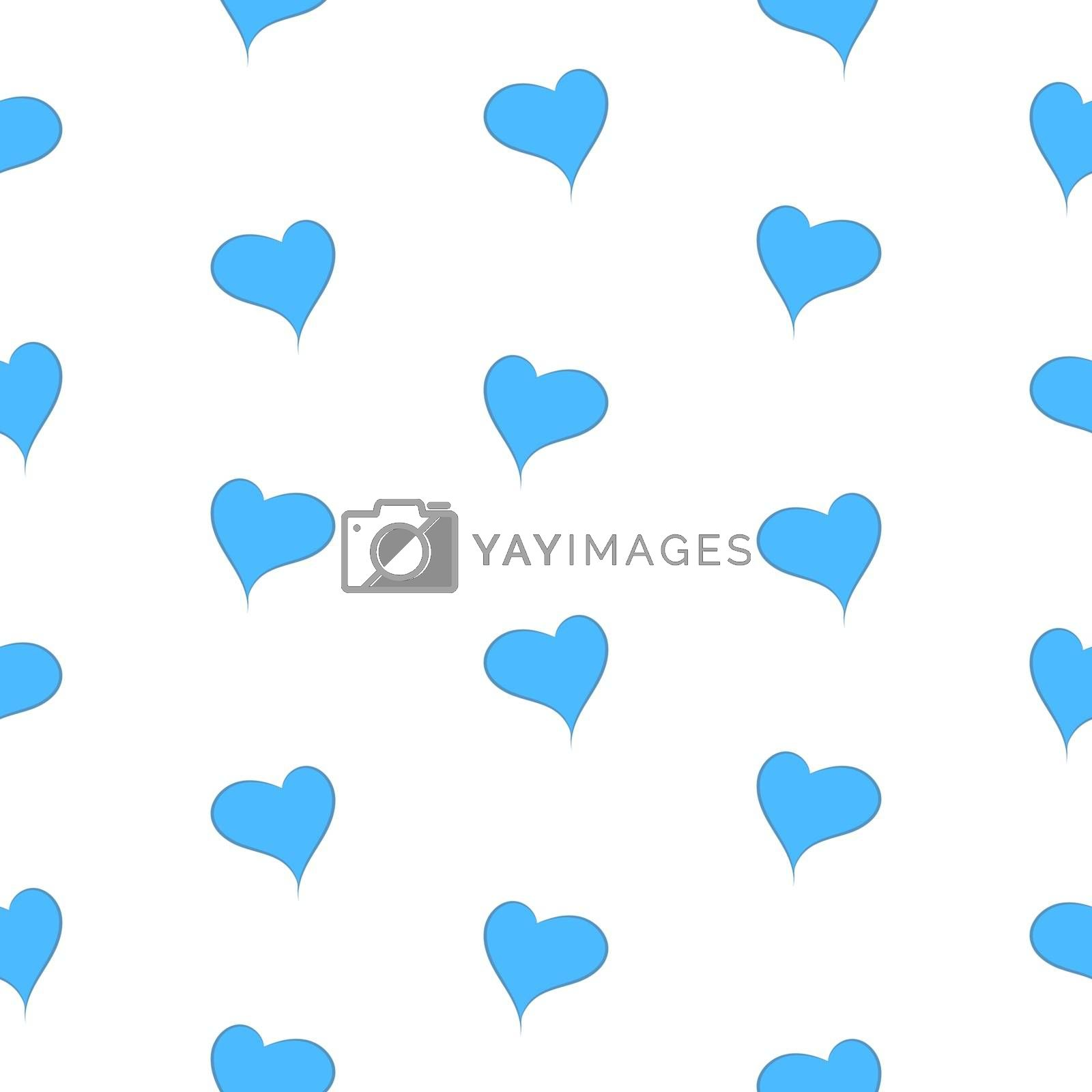 The simple geometry of blue hearts on a white background seamless pattern - vector