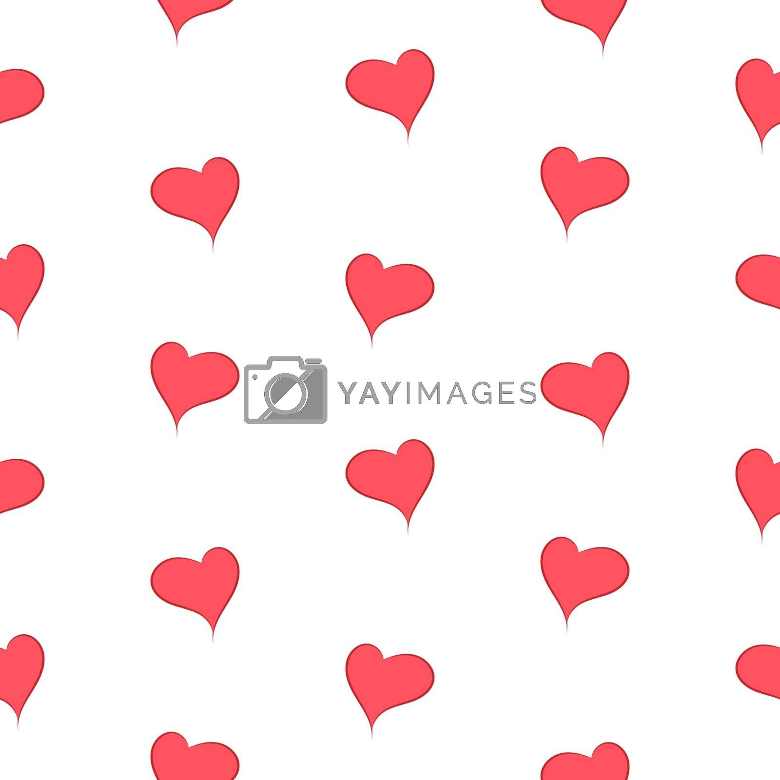 The simple geometry of red hearts on a white background seamless pattern - vector