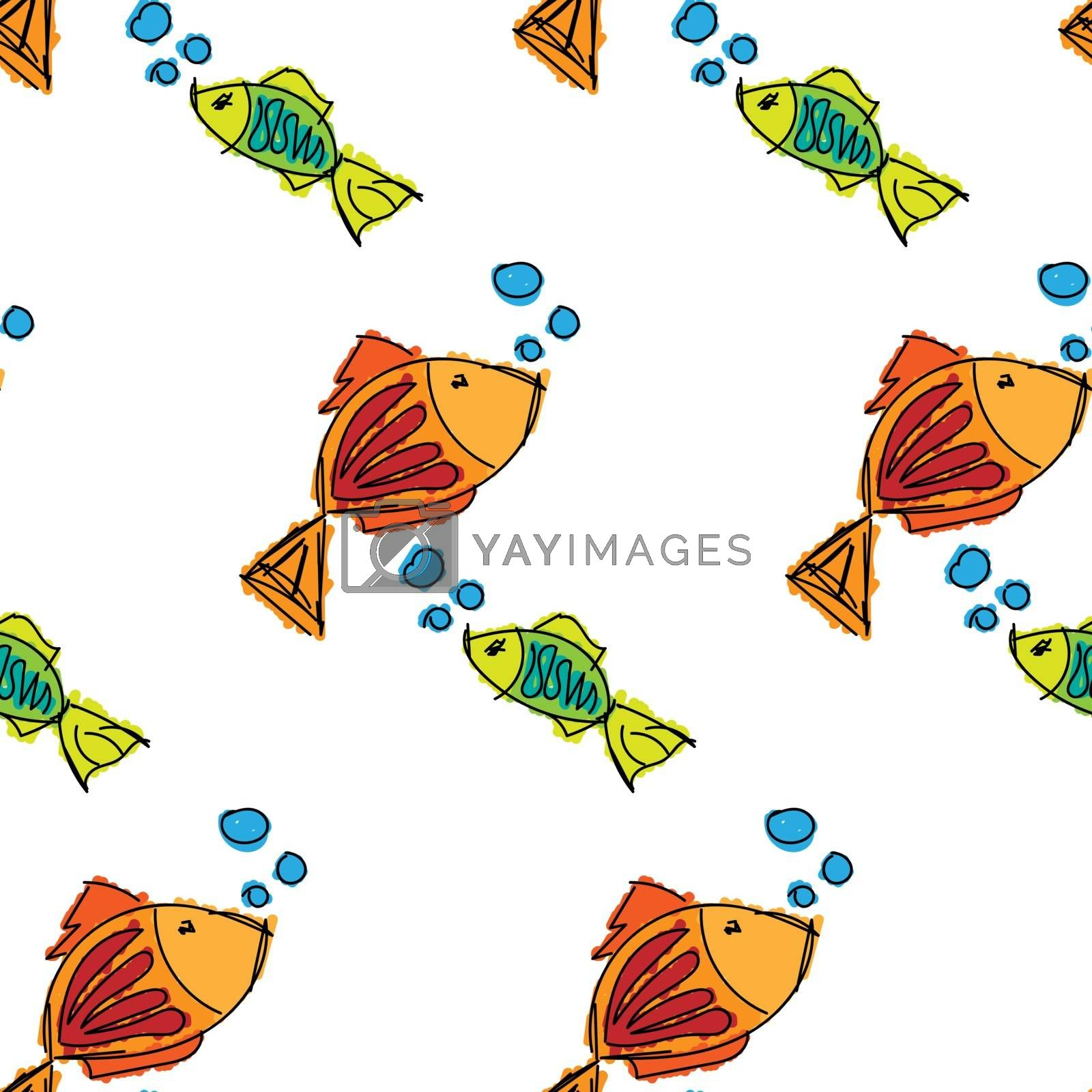 Fish contour hand drawn colored on a white background, seamless pattern