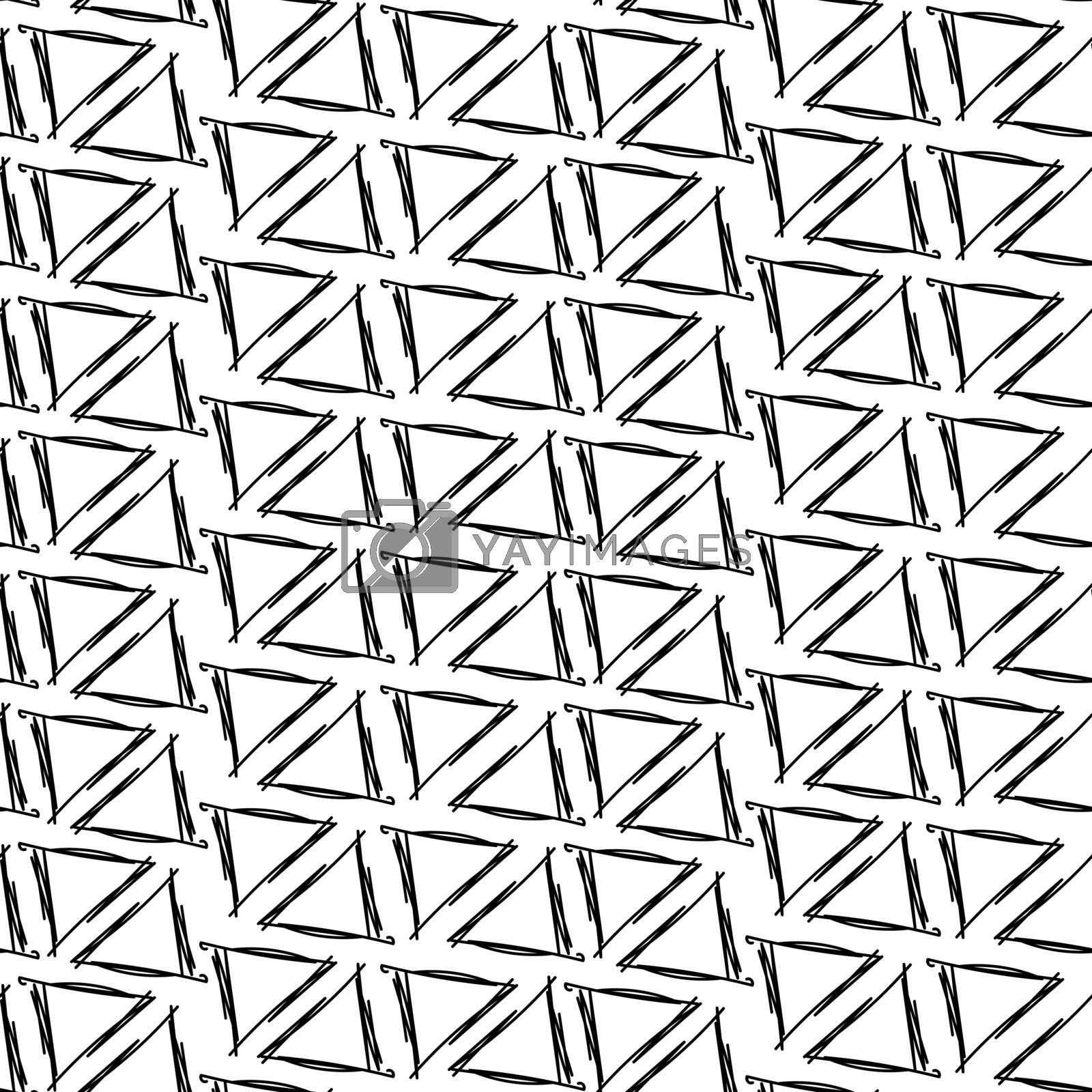 Ink drawing hand triangles simple white background seamless pattern
