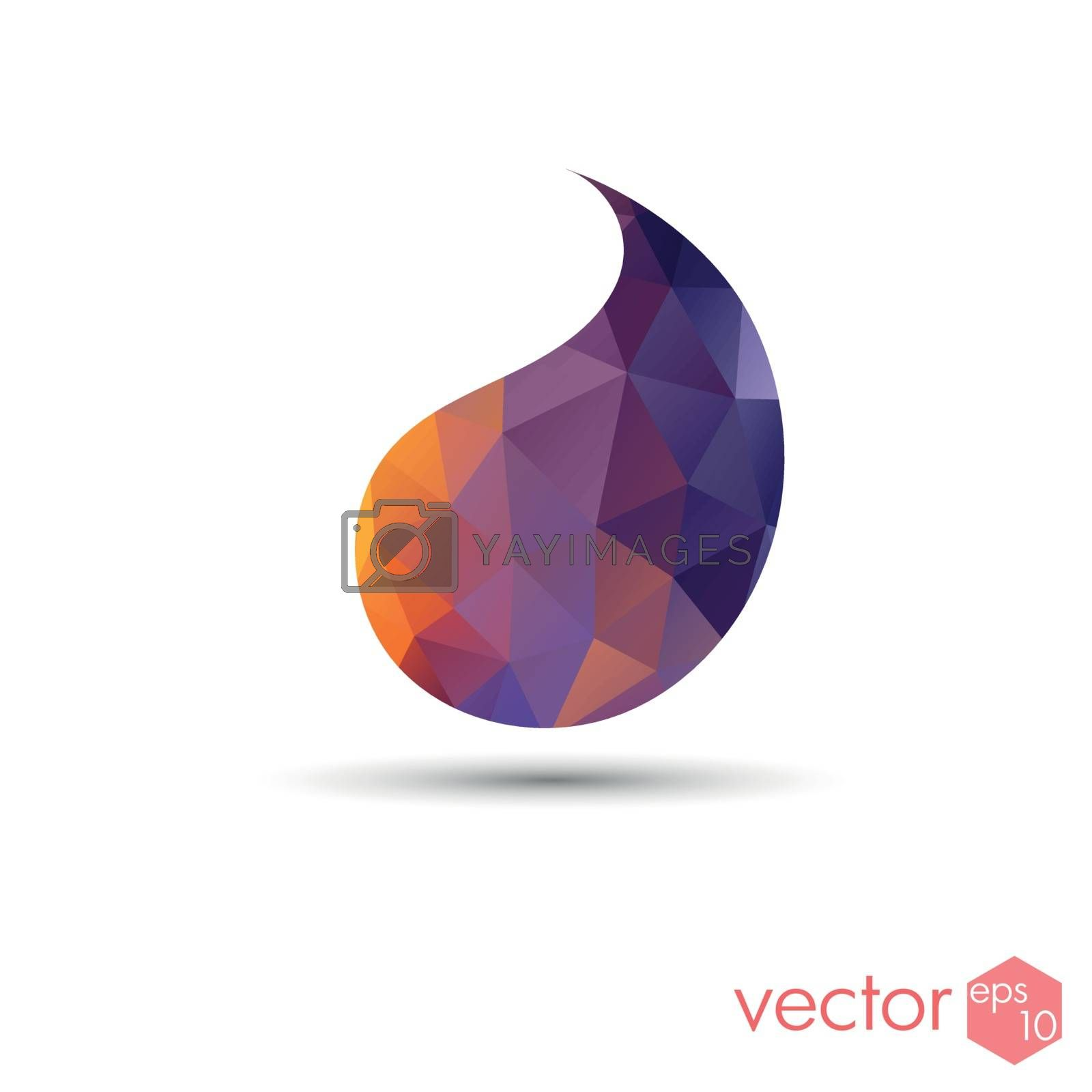 Drop poligonal sunset color template logo icon