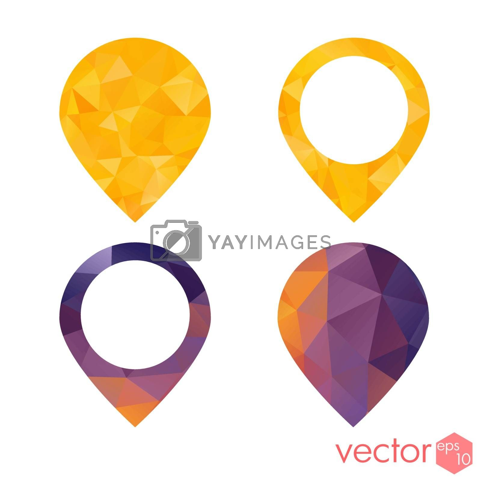 Icons place point navigation polygon style colored set