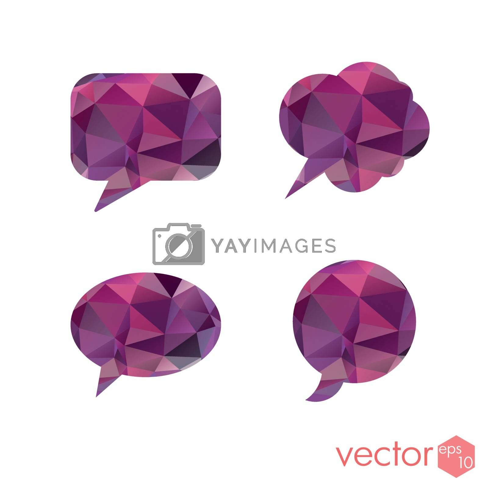 Mind cloud with a polygonal pattern purple set of icons