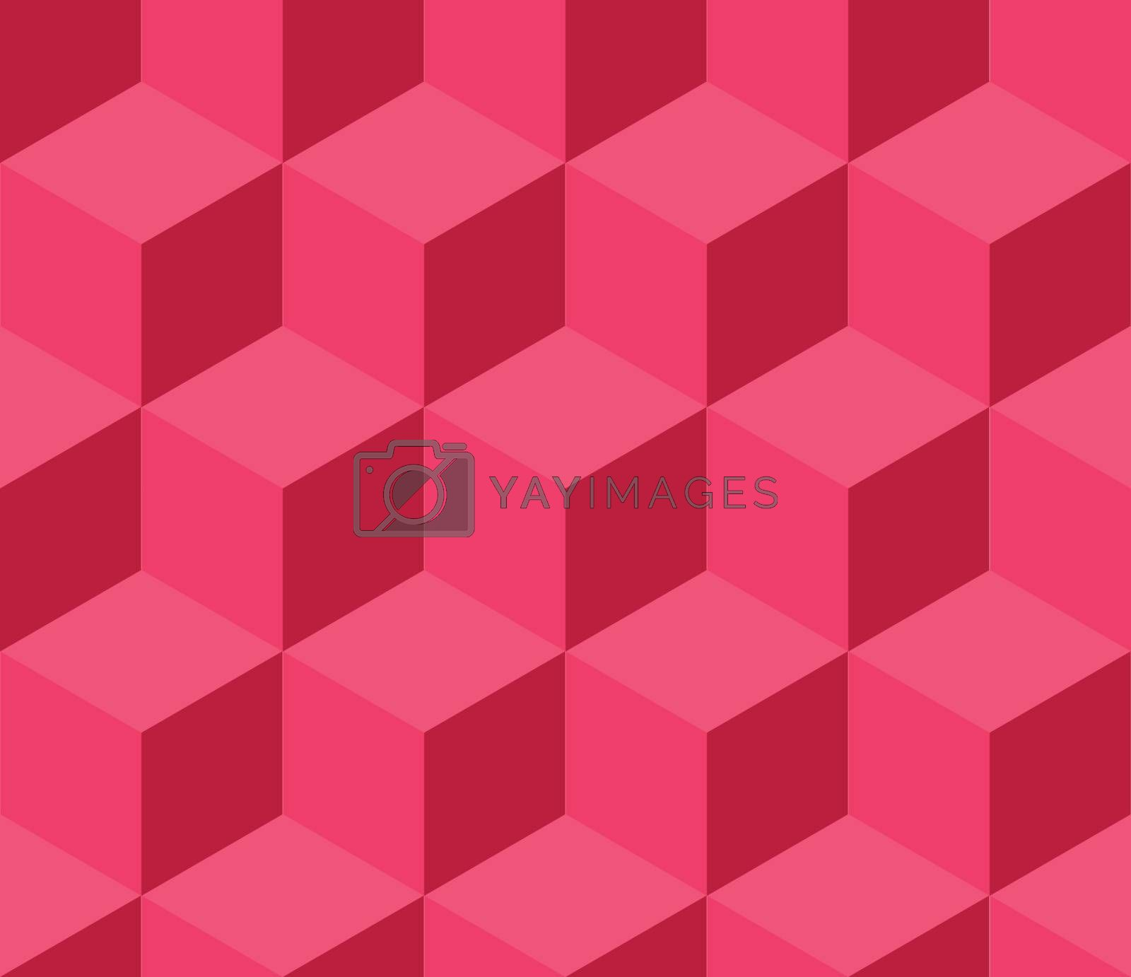 Red cubic seamless pattern