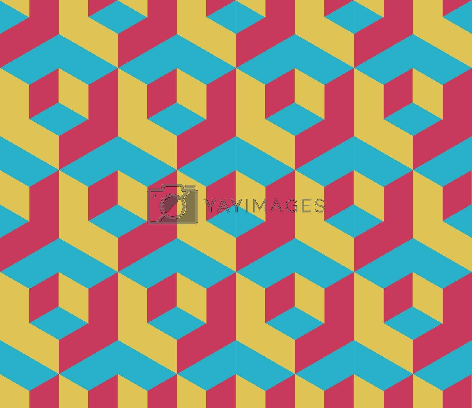 Retro colored cubic geometric seamless pattern by tommarkov