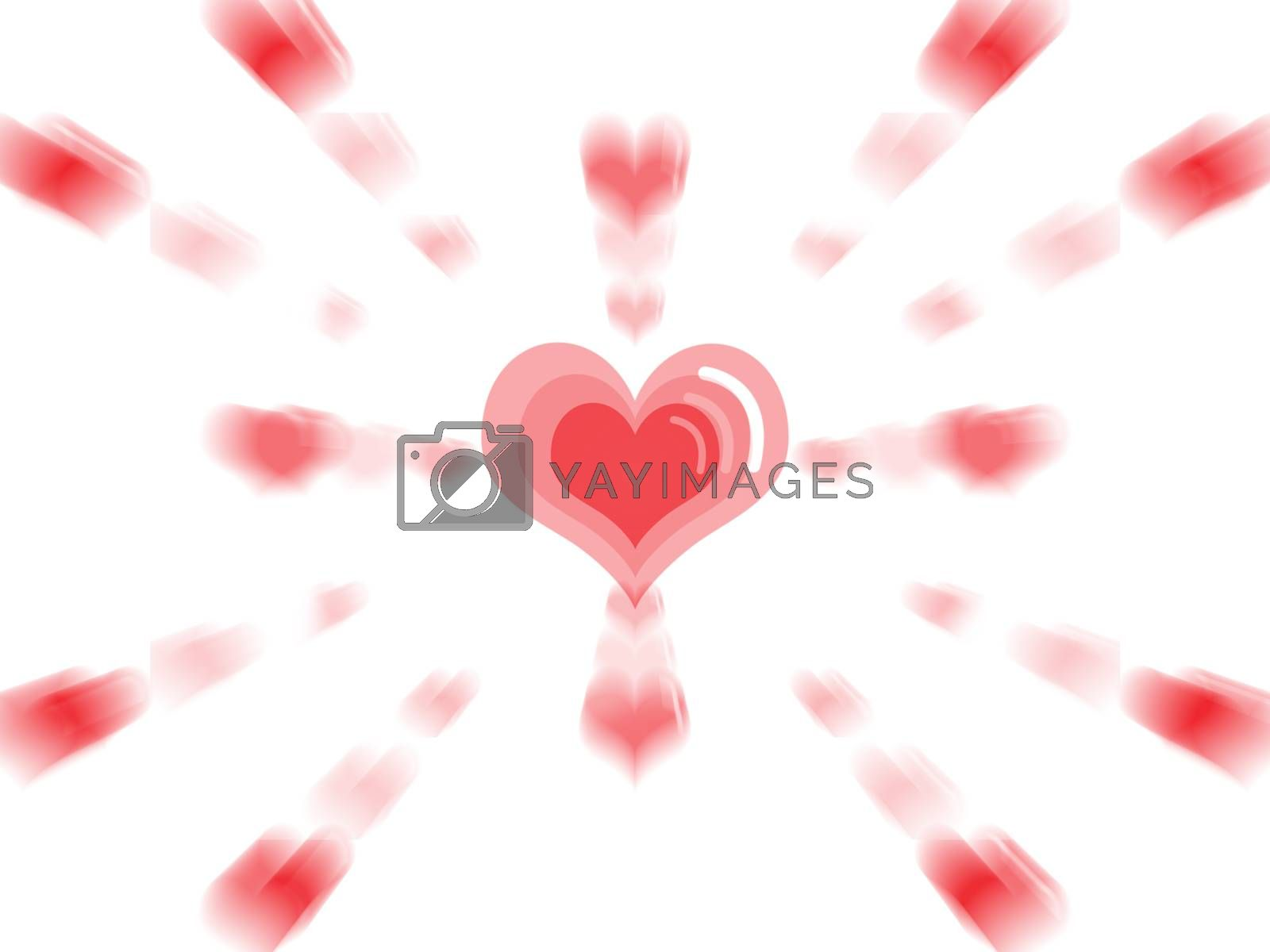 Big red heart in the center with small hearts expode surround isolated white background