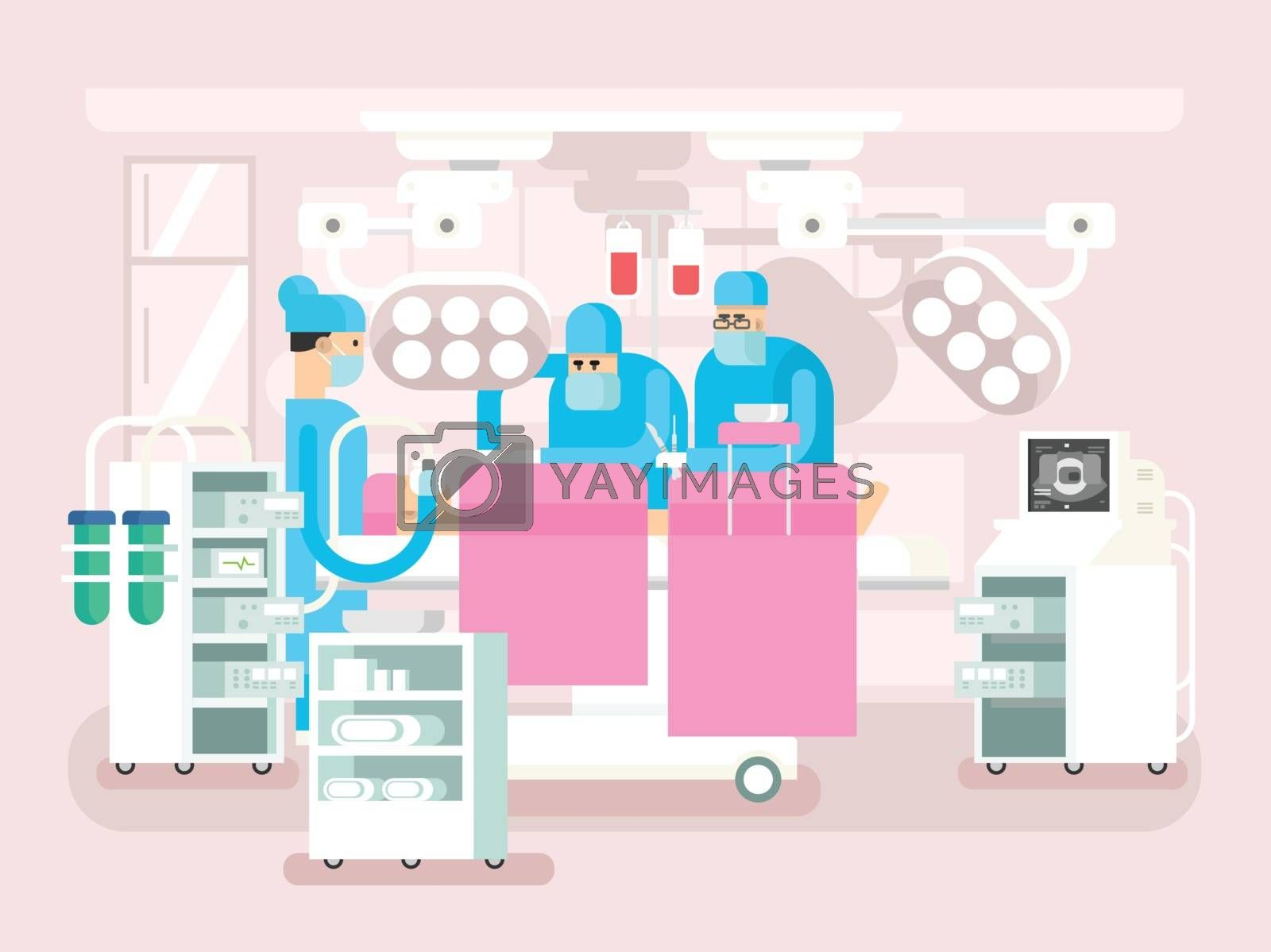 Operating room design. Operation surgery, medical and patient, hospital or clinic, vector illustration