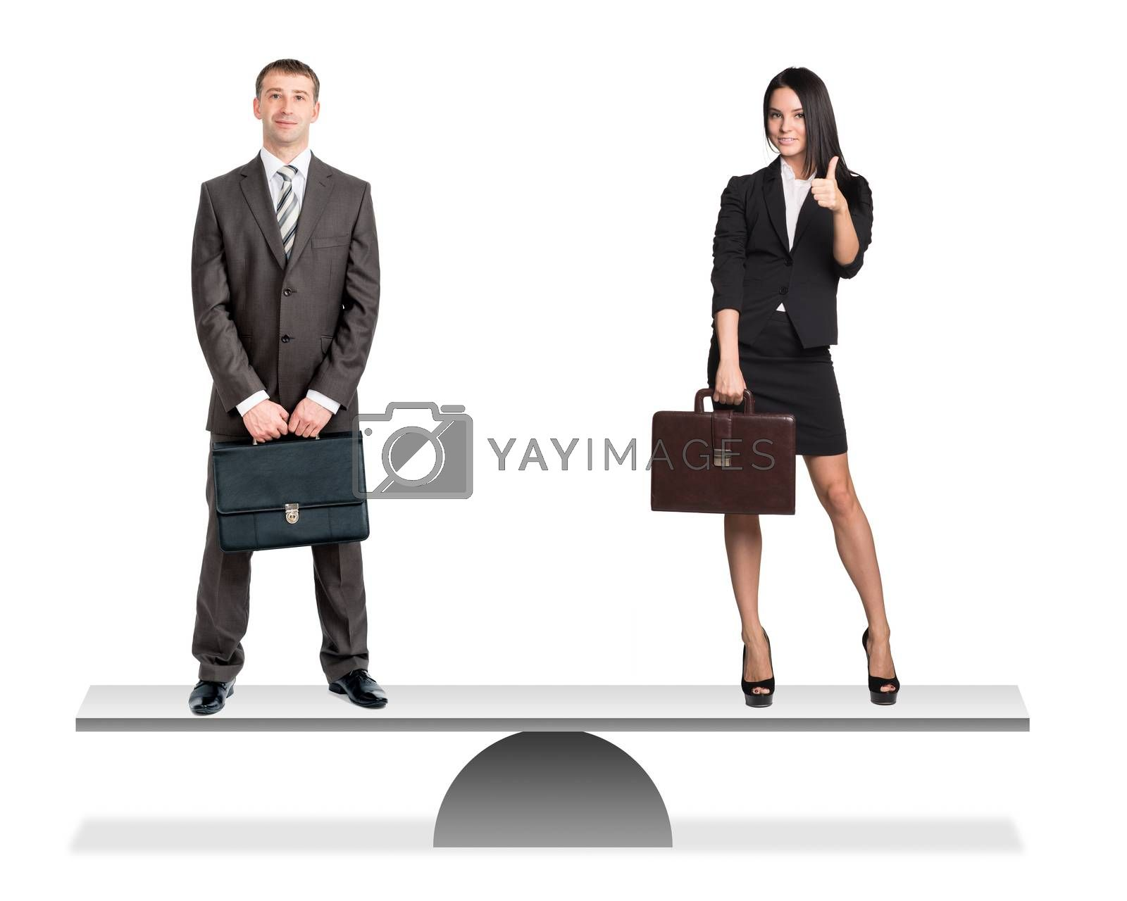 Businessman and businesswoman on scales isolated on white background, balance concept