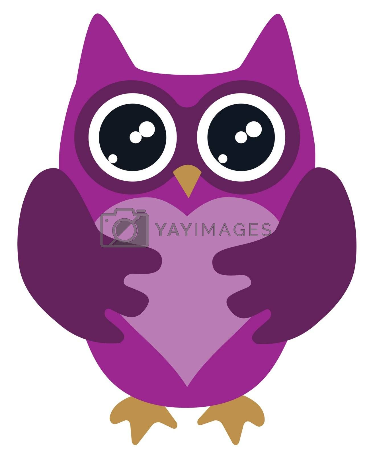 vector illustration of an owl holding a heart