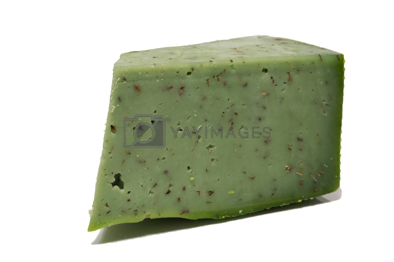 The photograph depicts cheese on white background