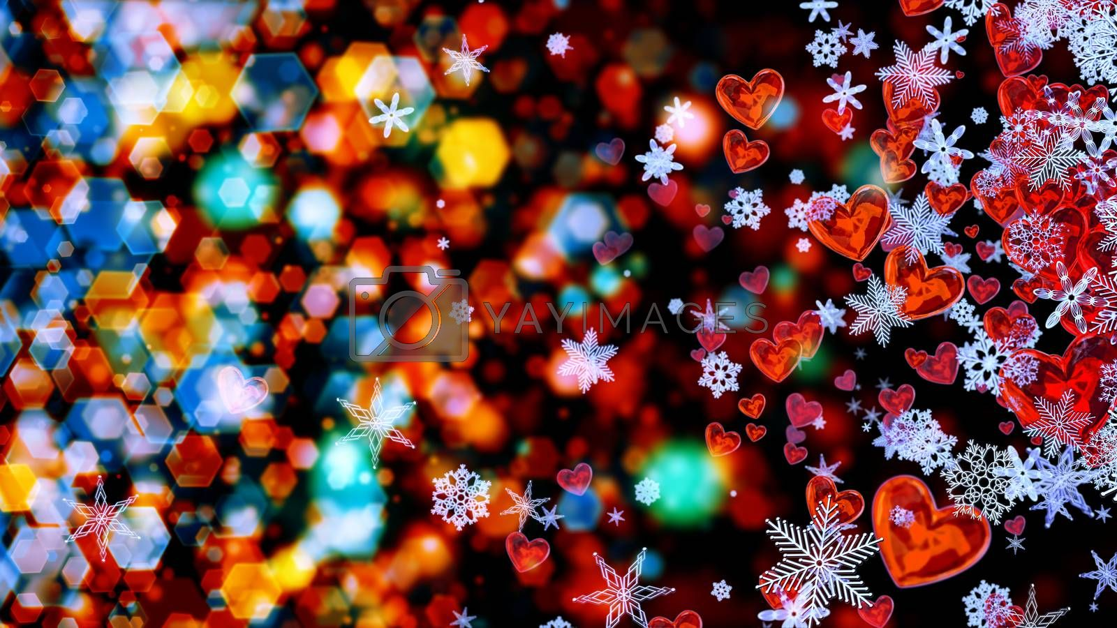 Set of hearts and snowflakes with a colored bokeh backdrop as a symbol of romantic love for the congratulations on Valentine's Day in february and winter weddings. Abstract horizontal background.