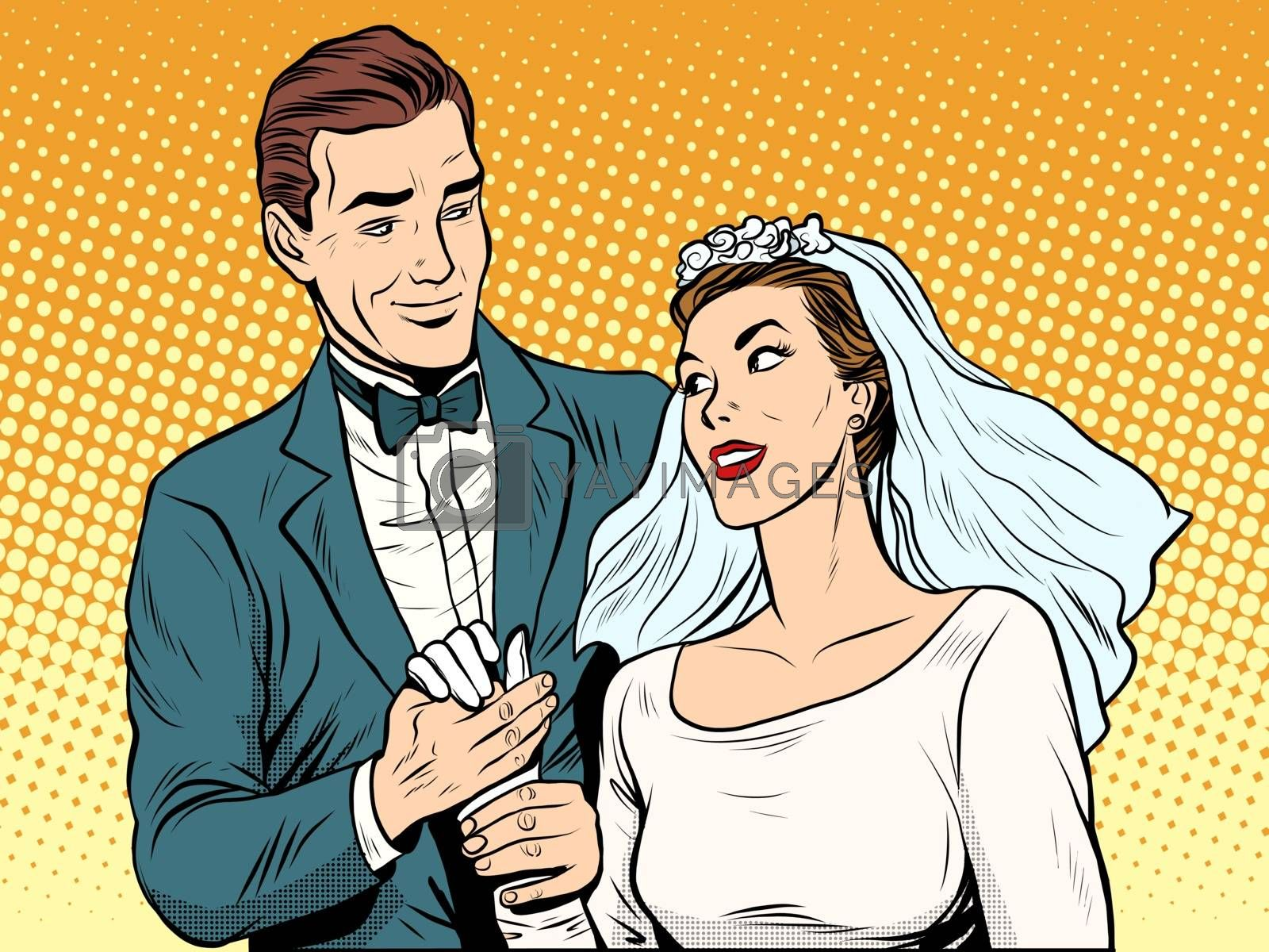 Wedding betrothal engagement groom bride love pop art retro style. Couple man and woman in wedding attire. Romance and feelings