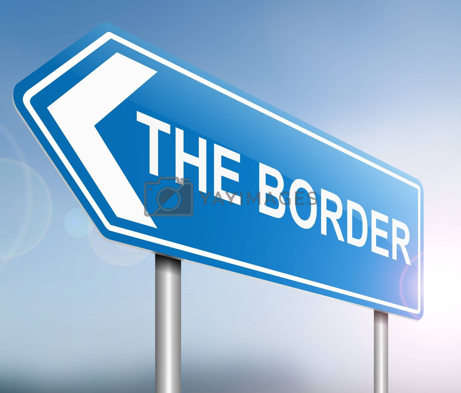 Illustration depicting a sign with a border concept.