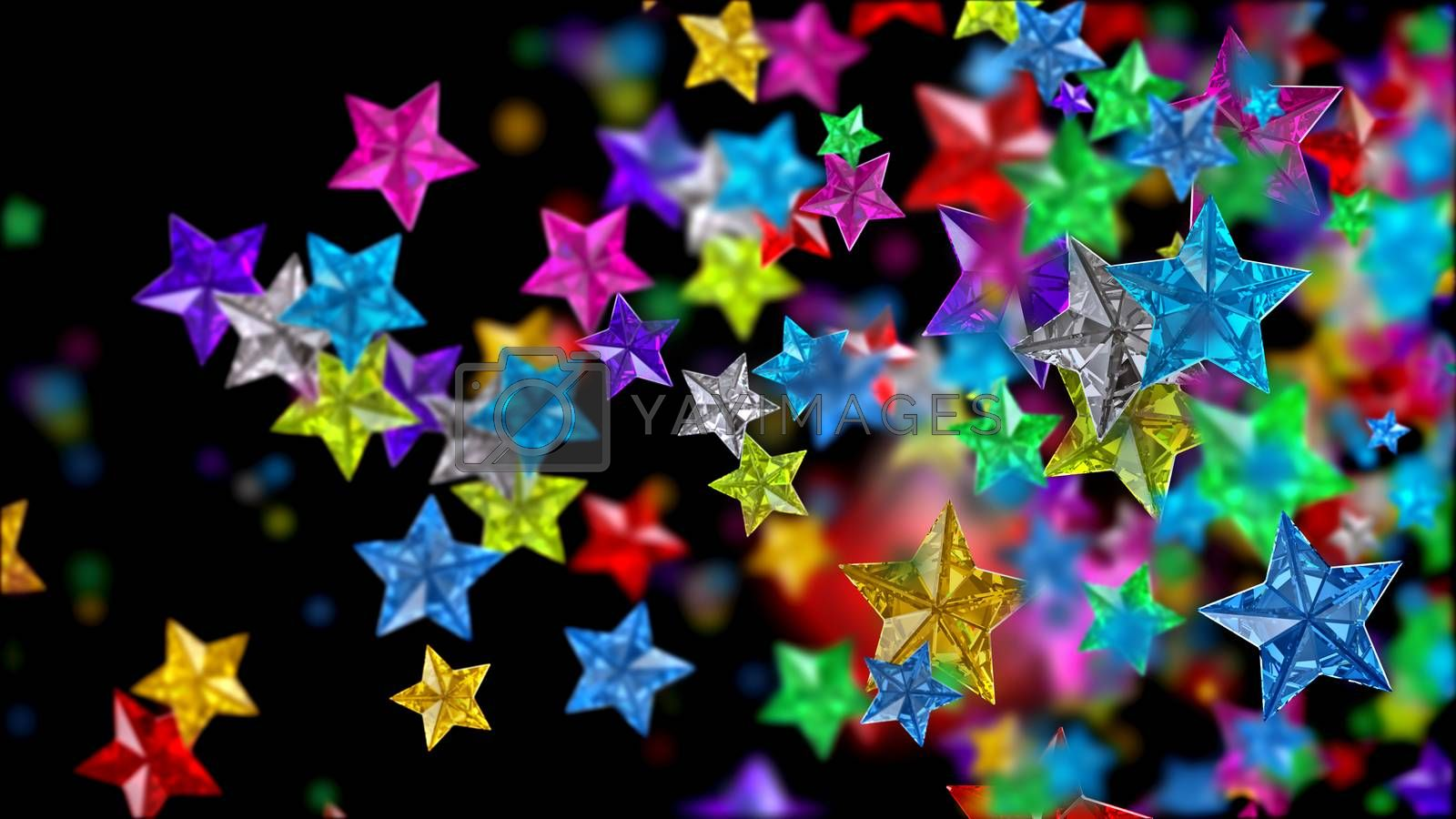 Glistening colourful glossy glass stars on the dark backdrop for any celebration or festive background, looks as luxury brilliants, rubies, sapphires and other gems