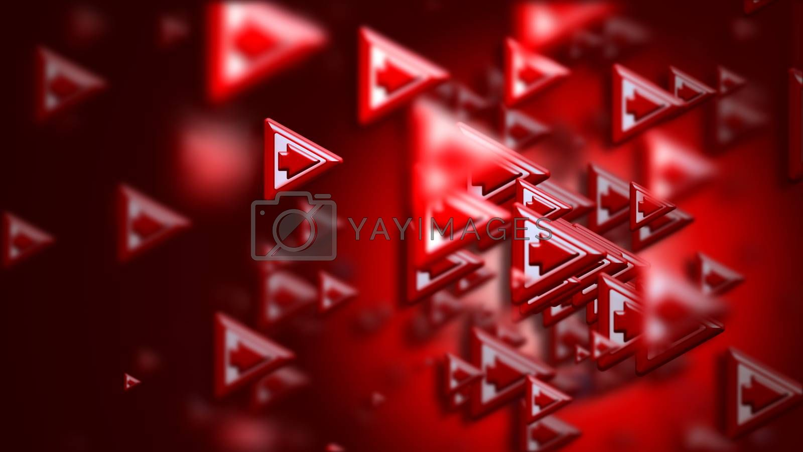 Moving group of arrows on a red backdrop, as a concept and a sign of the wrong choice of internet community in cyberspace for determination direction and areas of cooperation of the crowd