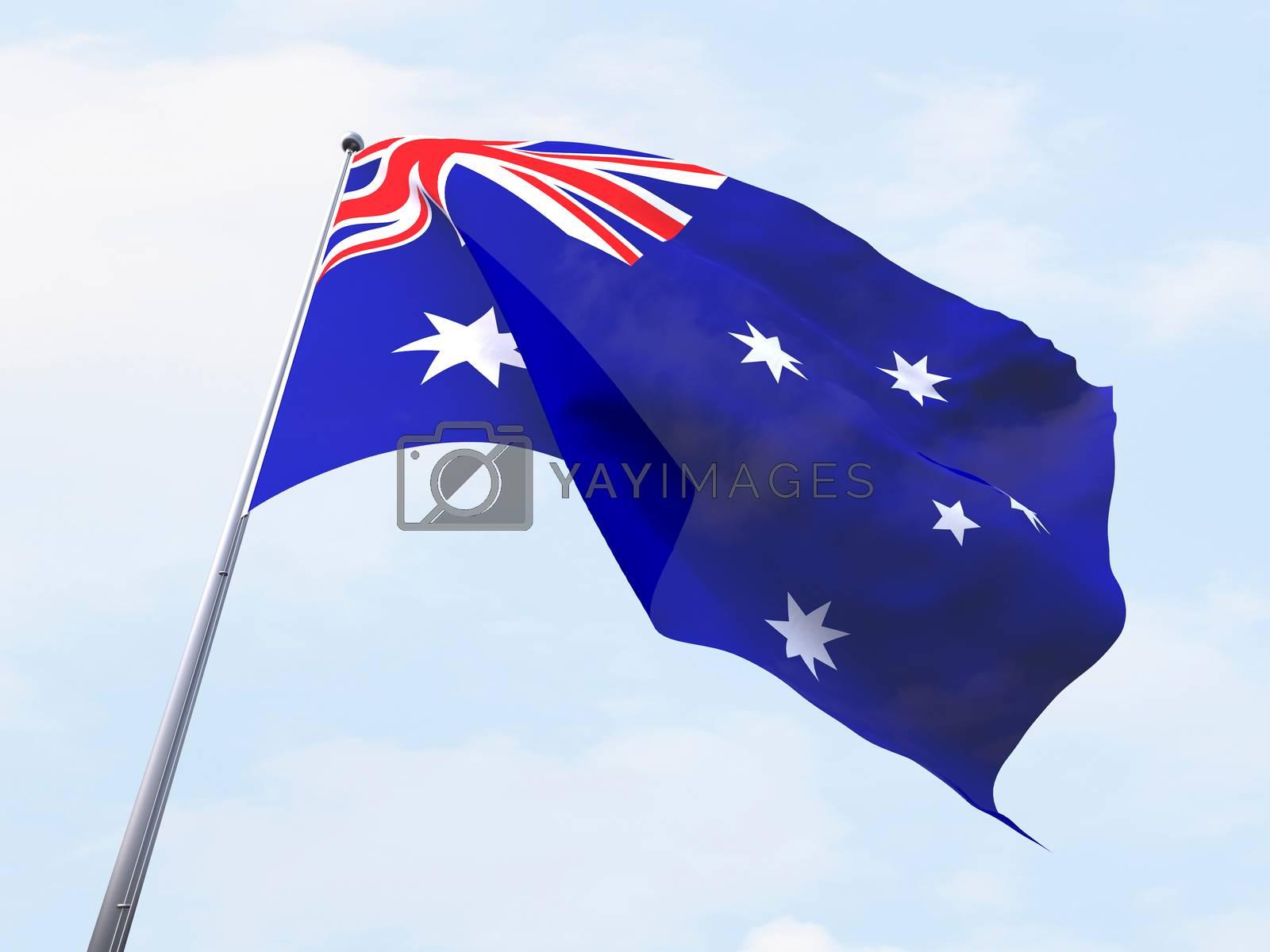 Australia flag flying on clear sky.