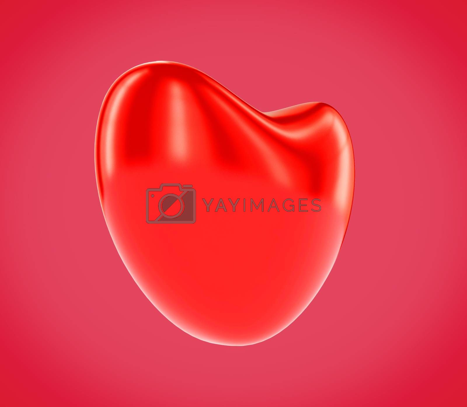Red Heart Valentines day background isolated with clipping path